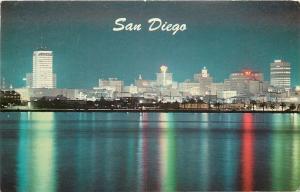 San Diego California~Skyline At Night~Bay Reflection~1964 Postcard