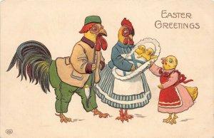 LP34  Easter Postcard Chicken Family EAS Publisher Dressed Fantasy
