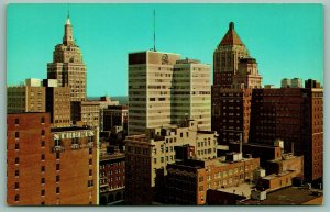 Tulsa Oklahoma~Downtown Skyline Close Up~Streets Ladies & Men's Apparel~1964