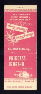 St Petersburg, Florida/FL Match Cover, Princess Martha Restaurant