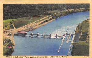 RED HOUSE WEST VIRGINIA WINFIELD LOCK~POWER DAM ON KANAWHA RIVER POSTCARD 1940s