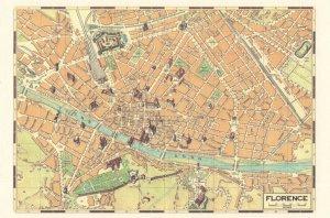 Florence Italy Italian Rare Map Postcard