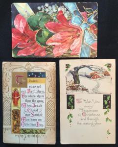 Postcard (3) Christmas PM-1909 1912 1923 LB