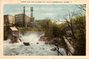 Sherbrooke Quebec Canada Power Dam Laysers Silk Mills Postcard unused 1900s/10s