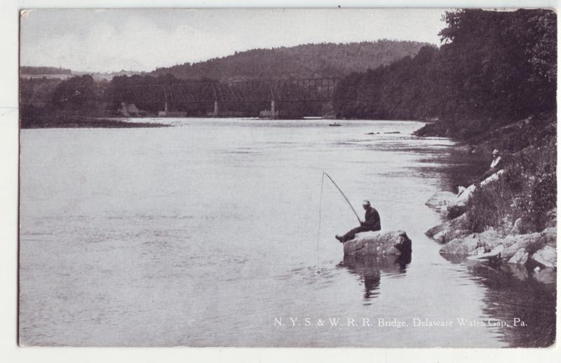 P1071 old used fishing N.Y.S&W R.R. brtidge delaware water gap penn