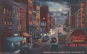 Virginia Petersburg Sycamore Street Looking South At Night Coca Cola Sign sk7266