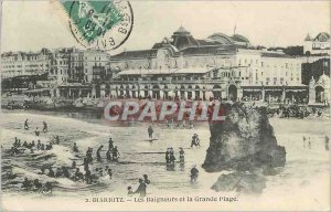 Old Postcard The Bathers Biarritz and Great beach