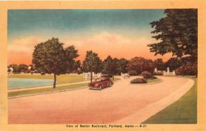Portland, Maine, ME, View of Baxter Boulevard, Linen Vintage Postcard d7703