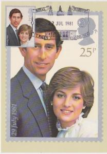 HRH PRINCE OF WALES AND LADY DIANA SPENCER WEDDING MAXI STAMP CARD - 25P - 2