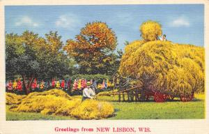 New Lisbon Wisconsin~Farmers Pitching Hay on Hayrack~Horses~1939 Linen Postcard