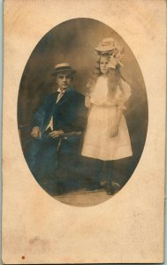 Vtg Postcard RPPC Unusual  Studio VIew - The Girl With The Very Large Hat