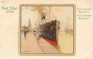LP31   Ship Red Star Line Cassiers Vintage Postcard Antwerpen New York Boston