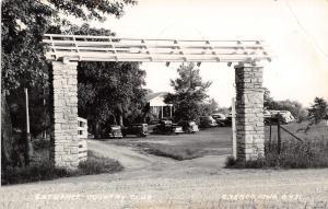 Cresco IA~Brick Pillar~Open Roof Entrance Gate to Country Club RPPC 1930s Autos