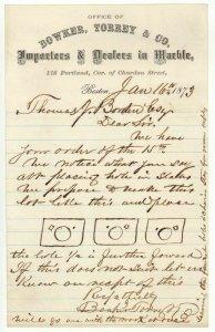 1873 Letterhead, BOWKER, TORREY & CO., Dealers in Marble, Boston, Massachusetts
