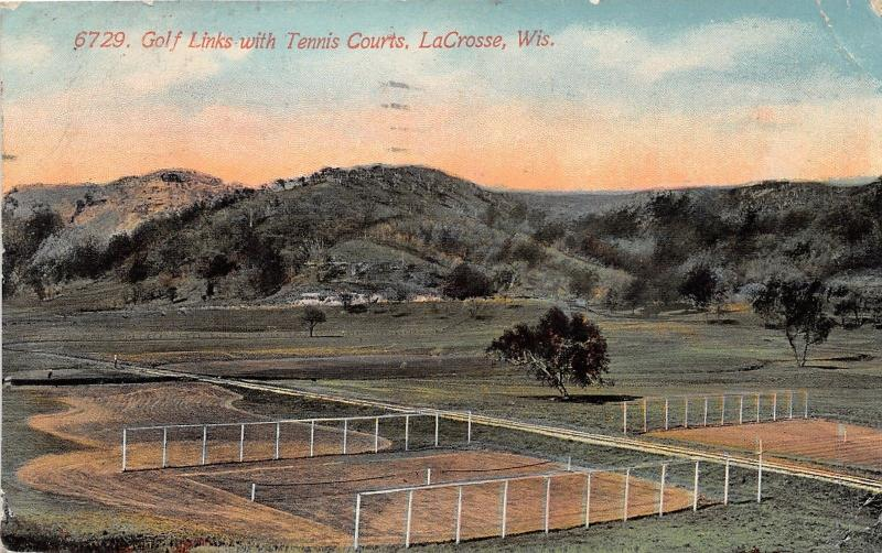 La Crosse Wisconsin~Golf Links (Course) & Tennis Courts View~1917 Postcard