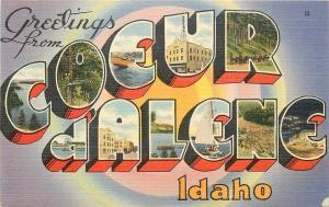 Coeur d'Alene Idaho~Large Letter Linen Postcard~Street Scene~Sail Boat~Ship~1948
