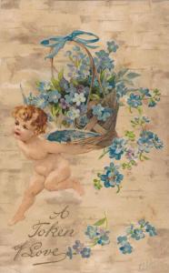 A Token of Love, Cherub running with basketful of  blue flowers, PU-1908