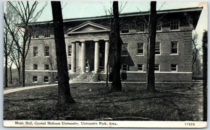 UNIVERSITY Park, Iowa Postcard Music Hall, CENTRAL HOLINESS UNIVERSITY 1917