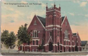 South Dakota SD Postcard c1910 REDFIELD New Congregational Church and Parsonage