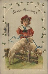 Easter - Little Boy & Lambs c1910 Postcard