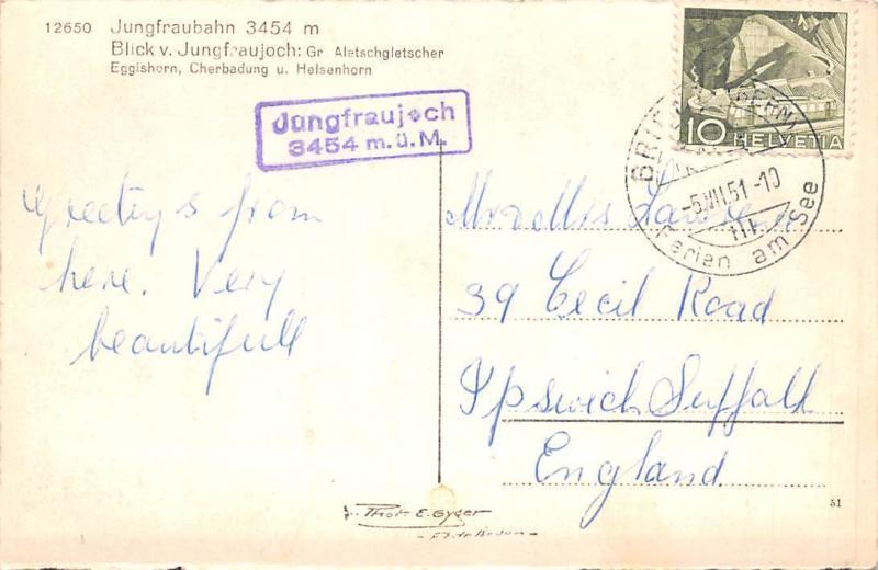 Jungfraubahn 3454 m Blick Jungfraujoch, Eggishorn, Cherbadung u. Helsenhorn 1951