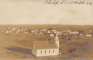 Philip South Dakota~Panorama from West Side~Catholic Church~Homes~1908 RPPC