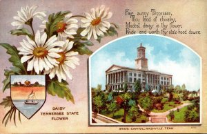 Tennessee State Flower Daisy and State Capitol Building