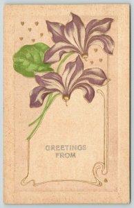 Greetings From~Embossed Flowers~Lavender Petals~Art Nouveau~c1910 Postcard