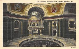 Rotunda, Wisconsin State Capitol, Madison, WI, Early Linen Postcard, Unused