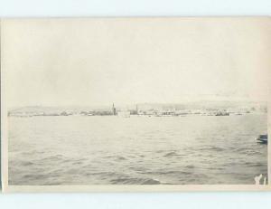 old rppc PANORAMIC VIEW OF SHORELINE Back Says Lisbon - Lisboa Portugal HM2326