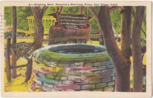 Wishing Well, Ramona's Marriage Place, San Diego, California, 1938 used Postcard