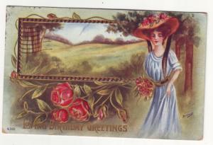 P322 1010 JL old postcard pretty woman view birthday greetings
