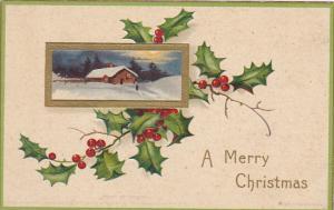 Clapsaddle Christmas Gold Framed Landscape Scene