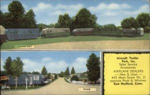 East Hartford CT Aircraft Trailer Park Inc Airplane Dealers LINEN Postcard