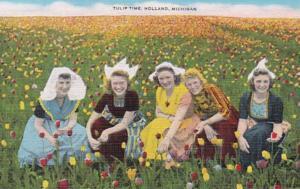 Michigan Holland Tulip Time Girls In Tulip Field