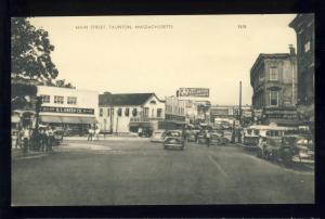 Taunton, Massachusetts/Mass/MA Postcard, Main Street, Ballantine Ale Sign