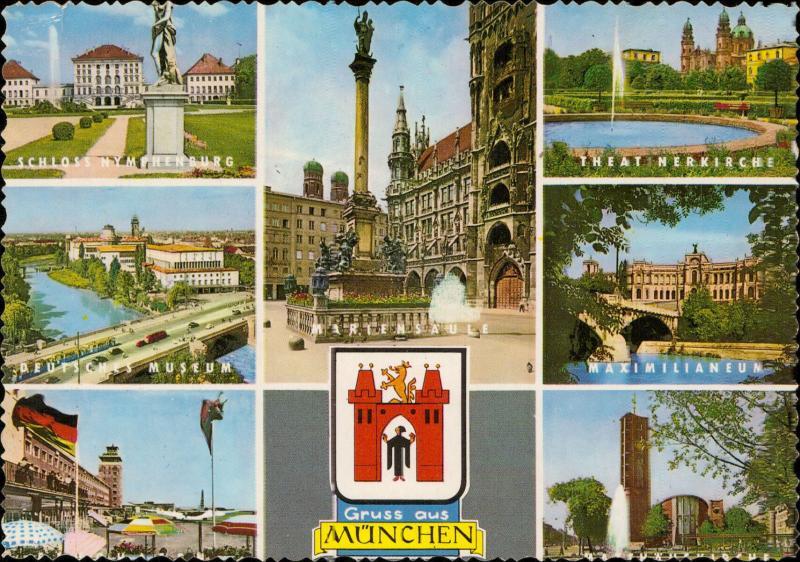 Gruss aus Munchen Mariensaule Nymphenburg Maximilianeum Theatinerkirche