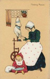 Feeding Pussie , Cat Child , woman , spinning wheel , 00-10s
