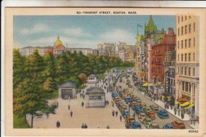 P1885 1949 postcard busy tremont street boston mass birds eye view many old cars
