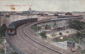 Train, Elevated Railway, New York, PU-1907