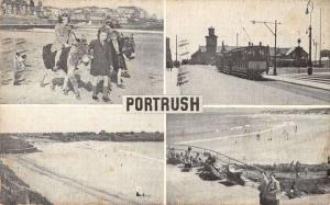 Portrush Antrim Ireland trolley train beach people donkey antique pc Y13860