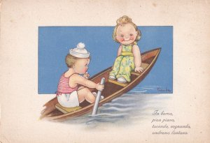 Children in row boat, Italian Poem, 1900-10s
