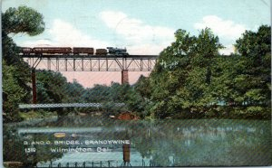 1909 Wilmington DE B&O Railroad Bridge Train Brandywine River 1519 Postcard DP