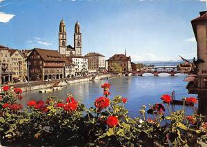 Switzerland Zuerich Grossmuenster Bruecke Bridge River Church General view