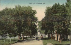 Oakland ME Main St. NICE COLOR c1910 Postcard