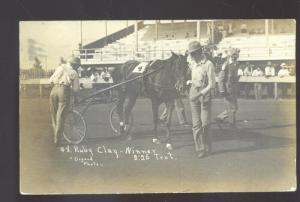 RPPC GALESBURG ILLINOIS HORSE RACING TROTTER RACE WINNER REAL PHOTO POSTCARD
