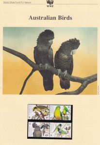 Australian Birds WWF Stamps and Set Of 4 First Day Cover Bundle