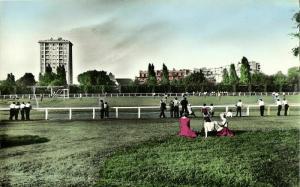 france, PANTIN, Seine, Stade Charles Auray (1960s) Stadium Postcard Tinted RPPC