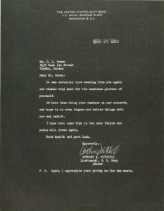 Vintage 1963 Letter From Navy Lieutenant Mitchell to C. L. Brown Topeka Kansas