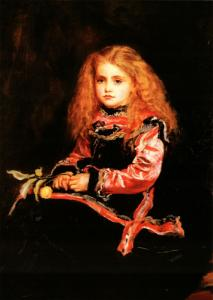 PRETTY LITTLE GIRL with Long red Hair ART New Unposted Postcard